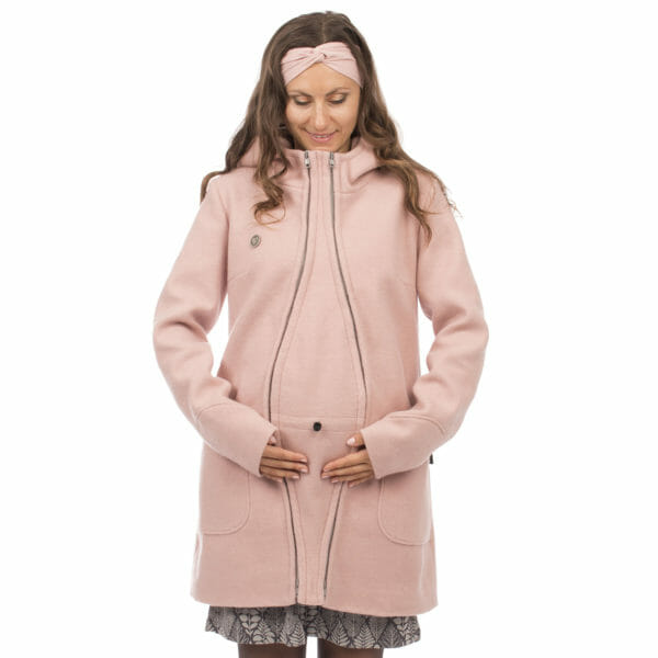 3in1 winter maternity and carrying coat VALENTIN in pink - pregnant model wears coat with pregnancy insert - front view