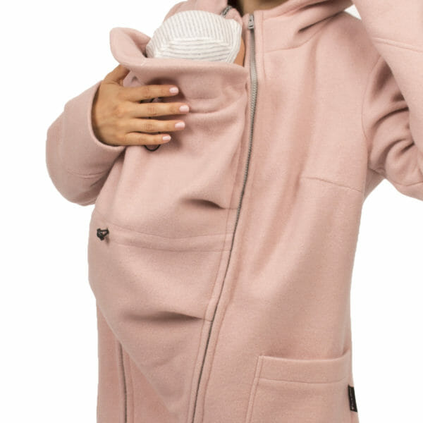 3in1 winter maternity and carrying coat VALENTIN in pink - detailed view of carrying insert in coat