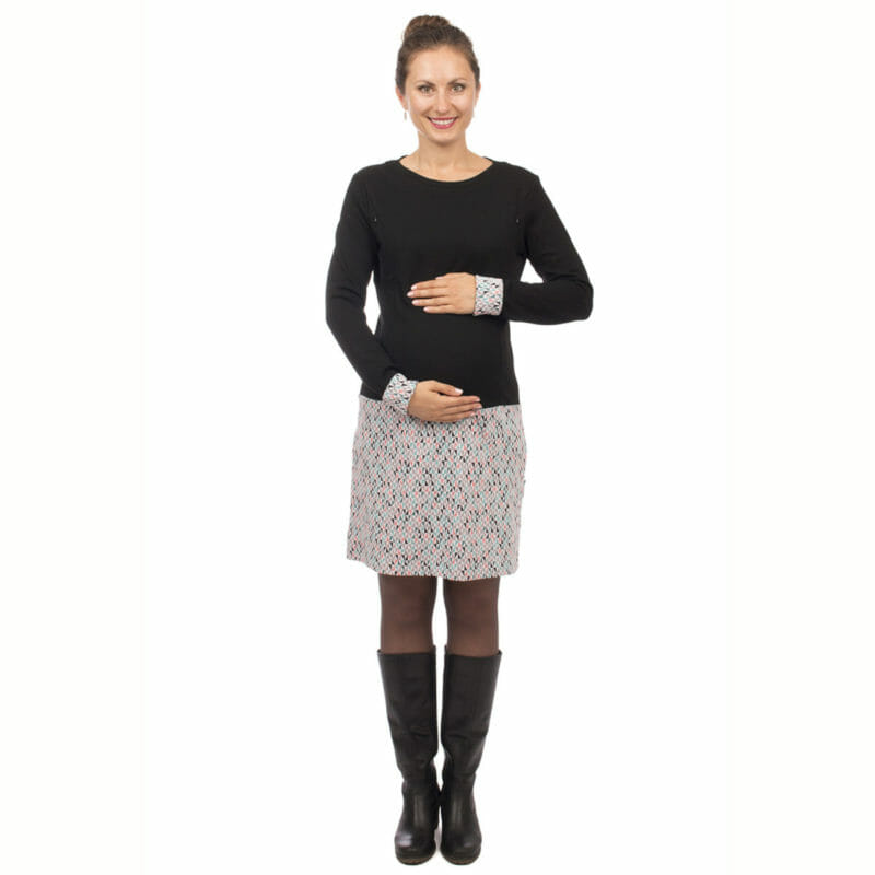 Long-sleeved maternity and nursing dress for the cold season. Made of soft jacquard in black and light-gray with triangles. Print repeats on sleeve ends as contrast and can be used to make it longer. The dress ends above knee. Hidden nursing access via vertical zips on both sides. The dress is comfortable to wear. Chic with boots and coat. #vivalamama