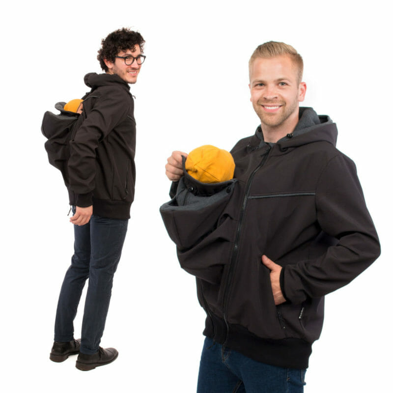 Sporty mens jacket in black softshell for babywearing front or back. Stylish design with practical details and easy to zip-in insert for baby carrying on your front or at your back. Insert has adjustable hood and neck protection. Jacket features deep pockets with zip to keep your valuables safe, chin protection at top of front zipper, adjustable hood and understated edgings at front and back. And if mom is doing the babywearing dad looks chic in his casual softshell jacket! #vivalamama
