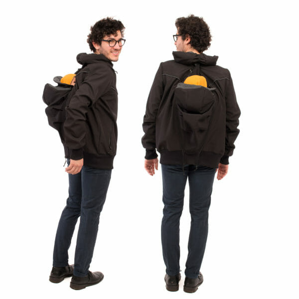 Mens babywearing softshell jacket EXPLORER PLUS in black - model wears jacket with insert on back - on the left in side view and on the right view from back