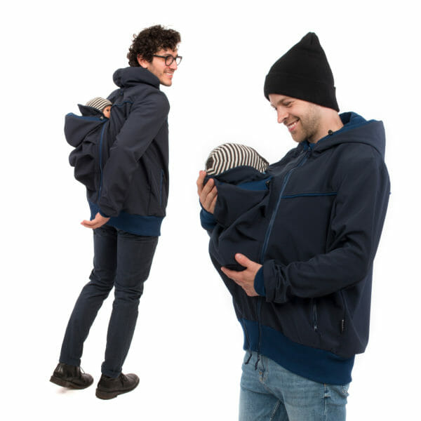 Mens babywearing softshell jacket EXPLORER PLUS in navy - model wears jacket - on the left with insert on back and on the right with insert at front