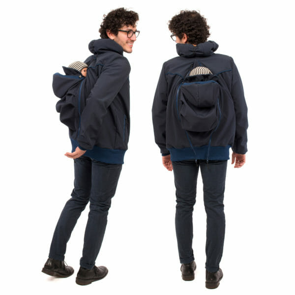 Mens babywearing softshell jacket EXPLORER PLUS in navy - model wears jacket with insert on back - on the left in side view and on the right view from back