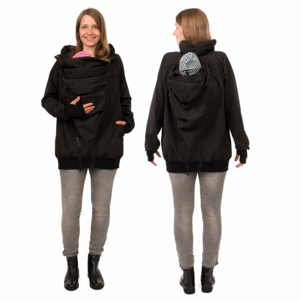 Twin baby carrier jacket TWINSTAR in black - babywearing model wears jacket with insert front and back - on the left front view and on the right view from back