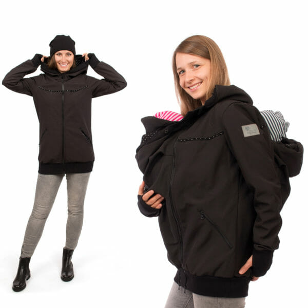 Twin baby carrier jacket TWINSTAR in black - model on the left wears jacket without insert and babywearing model with twins at front and on back - side view