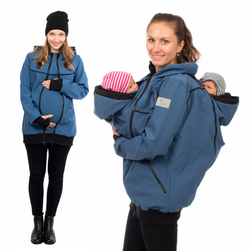 Twin carrying and maternity jacket. Made of breathable all-weather softshell in jeans-blue. With three easy to zip-in inserts. One for pregnancy. Two inserts for front and/or back carrying your baby sibblings or twins. With adjustable and lined hoods, deep pockets with zip and contrasting edgings. Long arms with warm ribbed cuffs and thumbholes. The babywearing insert will be wrapped around baby and can be worn open or closed with push button. Casual outdoor jacket without inserts.