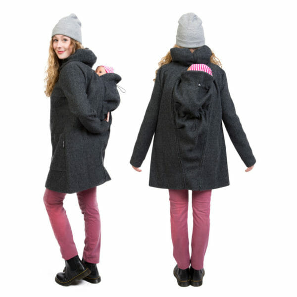 4in1 Winter maternity and babywearing coat VALENTIN PLUS in anthracite - babywearing model with baby and insert at back - on the left in side view and on the right view from back