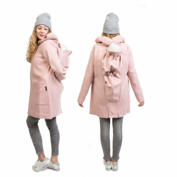 4in1 Winter maternity and babywearing coat VALENTIN PLUS in pink - model wears baby with insert on back - on the left ind side view and on the right view from back