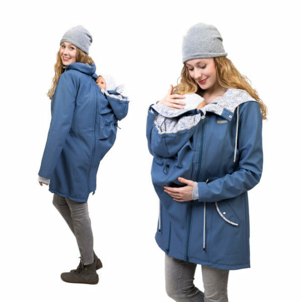 Babywearing and maternity parka coat PINA in slate blue - model on the left wears coat with baby in babywearing inset at back and on the right with babywearing insert at front