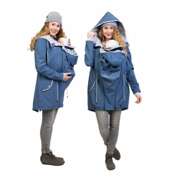 Babywearing and maternity parka coat PINA in slate blue - babywearing model with insert on front - on the left side iew and on the right front view with hood on