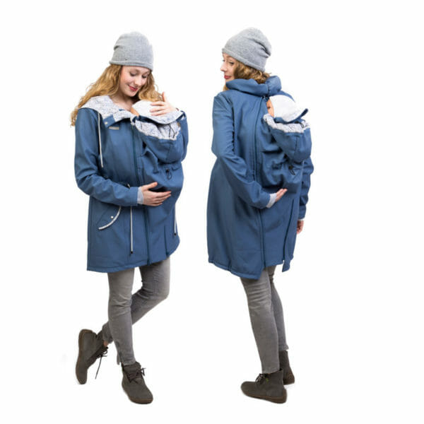 Babywearing and maternity parka coat PINA in slate blue - babywearing model - on the left with insert at front and on the right on back