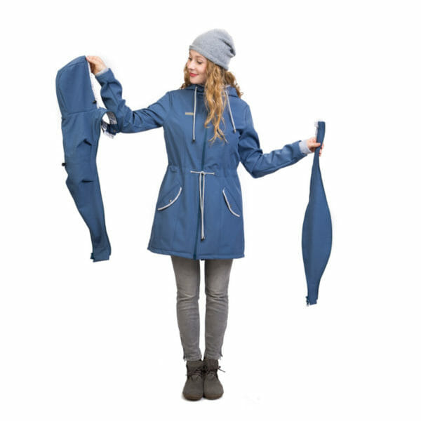 Babywearing and maternity parka coat PINA in slate blue - model wears coat and shows babywearing insert on left nand side and pregnancy insert on right hand side
