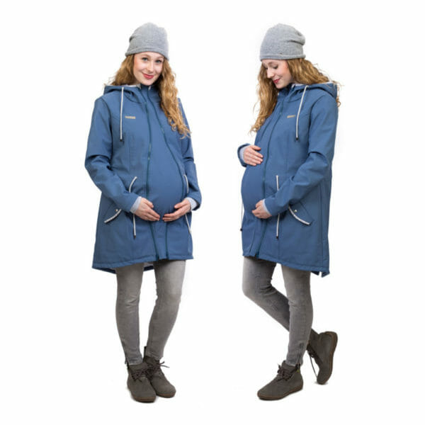 Babywearing and maternity parka coat PINA in slate blue - pregnant model wears coat with pregnancy insert - two side views