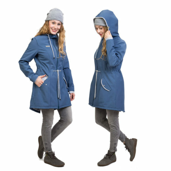 Babywearing and maternity parka coat PINA in slate blue - model wears coat without inserts - on the left with hand in pockst and on the right with hood on