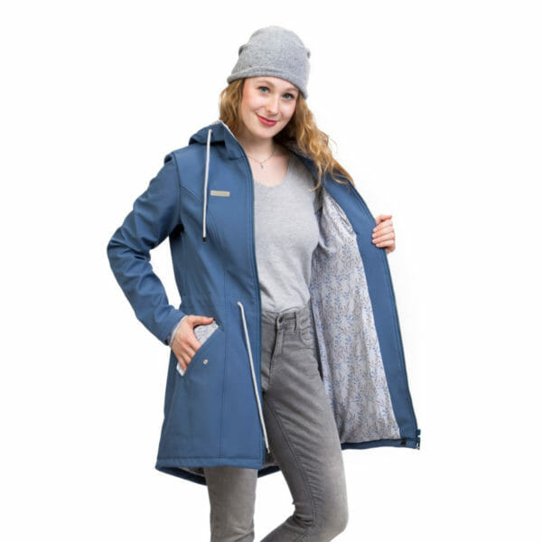 Babywearing and maternity parka coat PINA in slate blue - model wears coat without inserts and shows unique lining