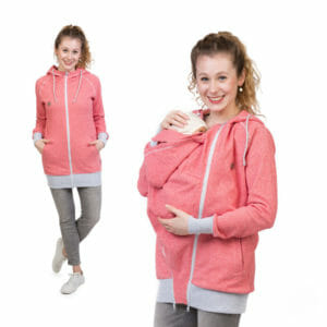 Babywearing Hoodie Summer Sweat CLEO in red white - model on the left wears jacket without insert and babywearing model on the right