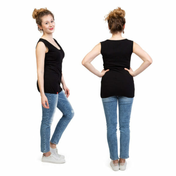 Maternity and nursing summer top NEO in black - model wears top - on the left side view and on the right view from back