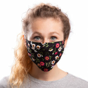 Face Mask Flowers on black - model wears mask - front view