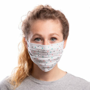 Face Mask Polka Dots on Grey - model wears mask - front view