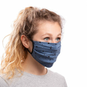 Face Mask Polka Dots on Jeans-Blue - model wears mask - half side view