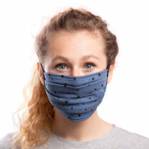 Face Mask Polka Dots on Jeans-Blue - model wears mask - front view