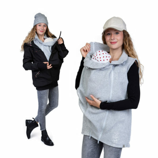3in1 Maternity and Babywearing Gilet RERIK in Light-Grey - babywearing model wears gilet with insert - on the left under jacket JACKY in black and on the right by itself