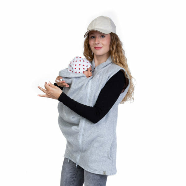 3in1 Maternity and Babywearing Gilet RERIK in Light-Grey - babywearing model wears gilet and shows adjustable cord on baby's neck protection