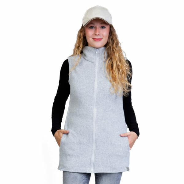 3in1 Maternity and Babywearing Gilet RERIK in Light-Grey - model wears gilet - front view