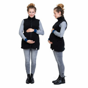 3in1 Maternity and Babywearing Gilet RERIK in Black - pregnant model wears gilet - on the left front view and on the right side view