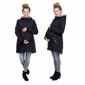 Babywearing and maternity parka coat PINA in black-fans - pregnant model wears parka with pregnancy insert - on the left front view and on the right side view