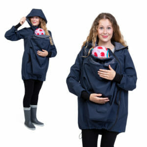 BASIC Kangaroo Jacket Softshell ARIEL in Navy - babywearing model wears jacket - on the left with hood on and on the right front view