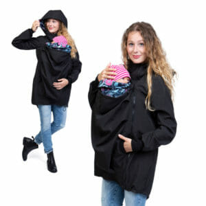 BASIC Kangaroo Jacket Softshell ARIEL in Black - babywearing model wears jacket - on the left with hood on and on the right half side view