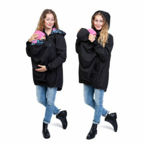 BASIC Kangaroo Jacket Softshell ARIEL in Black - babywearing model wears jacket - on the left half side view and on the right with hood on