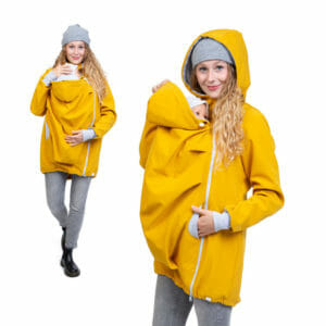 BASIC Kangaroo Jacket Softshell ARIEL in Mustard Yellow - babywearing model wears jacket - on the left front view and on the right with hood on