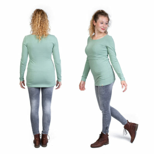 BASIC Longsleeve Nursing Shirt MIA in Mint - model wears shirt - on the left view from back and on the right half side view