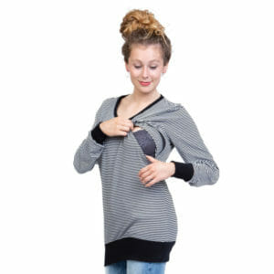 BASIC Longsleeve Maternity & Breastfeeding V-Neck Shirt TORI in Black-White - model wears shirt and shows breastfeeding access