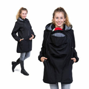 Softshell maternity and babywearing jacket MELLORY in black-stripes - model wears coat - on the left with pregnancy insert and on the right with babywearing insert