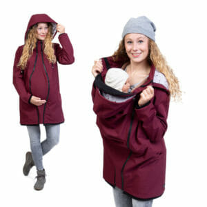 Softshell maternity and babywearing coat MELLORY in bordeaux - model wears coats - on the left with pregnancy insert and on the right babywearing with babywearing insert
