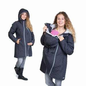 Quilted maternity and babywearing coat POLARIS in anthracite-grey - pregnant model on the left had side wears coat with pregnancy insert and babywearing odel on the right hand side wears coat with carrying insert