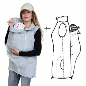 4in1 Maternity and Babywearing Gilet RERIK in Light-Grey - babywearing model wears gilet with insert at front and ont the right drawing of gilet with insert at back