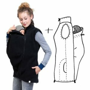 4in1 Maternity and Babywearing Gilet RERIK in Black - babywearing model wears gilet with insert at front and ont the right drawing of gilet with insert at back